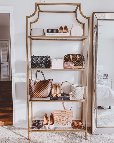{ gotta get creative with that boutique style storage at home 🙌🏻👜👠 years later, i still love switching up this fun display 😍 #goldetagere #goldshelves #display #shelfie  http://liketk.it/2MJHA #liketkit @liketoknow.it }
