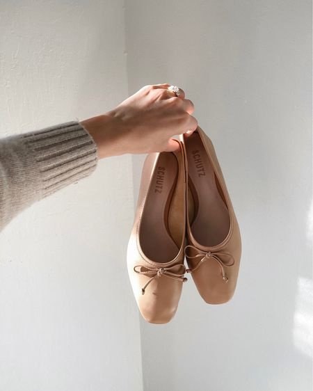The perfect nude ballet flats. under $100 and perfect for every season. I'm between sizes and went with my larger size. 🤍  #LTKSeasonal #LTKunder100 #LTKshoecrush