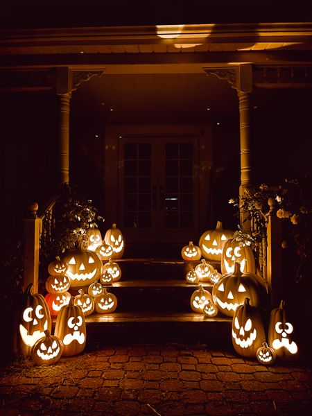 Check out these simple pumpkin front porch steps that we styled this week! An easy DIY and more over on lizmarieblog.com  #LTKSeasonal #LTKHoliday #LTKhome