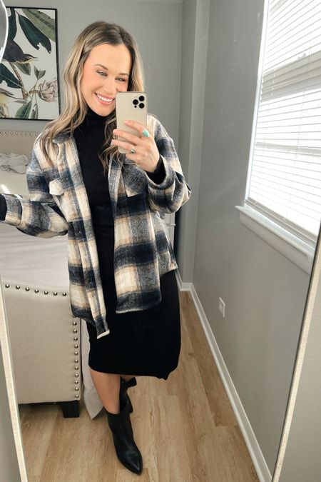 Amazon fashion finds: how to style this amazon shacket #9 This turtleneck sweater is so flattering, paired it with a casual pair of black booties. #liketkit http://liketk.it/36AY3 @liketoknow.it #LTKstyletip #LTKshoecrush #LTKworkwear
