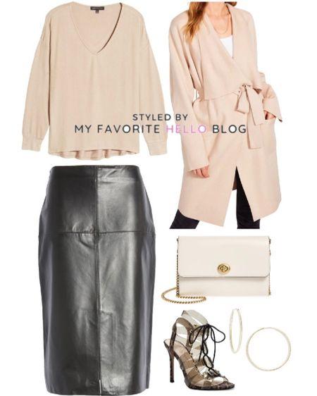 Leather skirt fall outfit. Nordstrom anniversary sale skirt. Leather skirt with pink coat. #nsale #leatherskirt #nordstrom  #LTKshoecrush #LTKstyletip #LTKworkwear