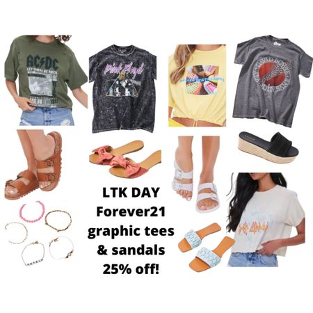 http://liketk.it/3hhFq #liketkit @liketoknow.it #LTKDay #LTKsalealert #LTKunder50  Forever21 💕 25% off in app purchases for LTK DAY  Sale ends June 13th.  Code: LTKxF21 Graphic tees and sandals to keep you cool this summer.   Price ranges: $$7-$25