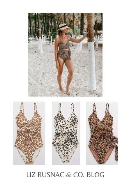 Cutest leopard print one piece swimsuits with full coverage booty! #swim #beachwear