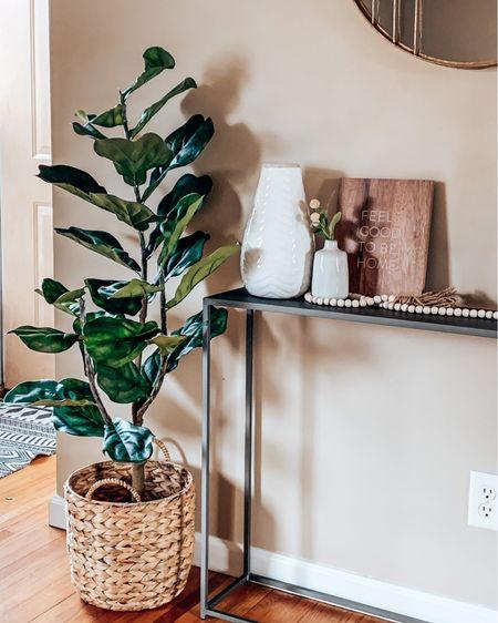 Some more home decor ☁️🏡 work in progress!! White vase on sale with code SAVE20 // fiddle leaf tree basket console table vase stems pampas  http://liketk.it/2LTpE @liketoknow.it #liketkit #LTKsalealert #LTKhome #LTKunder100