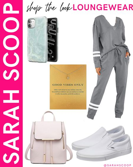 Here's the perfect outfit to go shopping in or go to class in! 🤍  #graytracksuit#phonecase#necklace#purse#backpackpurse#backpack#vans#shopping#amazon#amazonfinds#amazonwardrobe#primewardrobe#comfortable#affordable  #LTKunder50 #LTKstyletip #LTKSeasonal