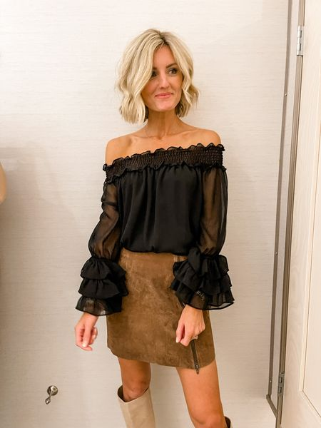 This off the shoulder too paired with the suede skirt is perfect for a date night or girls night out!   #LTKunder100 #LTKstyletip #LTKsalealert