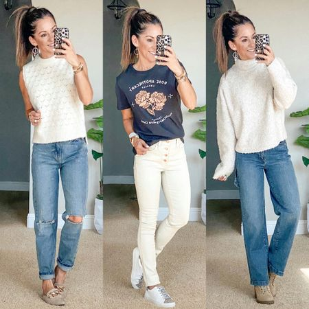 Target sale! 20% off tops and jeans!  I'm wearing an xs in all of these cute tops/sweaters the sweater on the right is not online yet, so you need to grab it in store. size 0 in mom jeans on the left, 00 in the skinny ecru jeans, 00 in the wide leg carpenter jeans.   #LTKunder50 #LTKsalealert #LTKstyletip