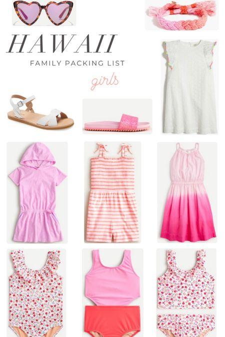 Girls Hawaii packing list. Swimsuits. Coverups. Shorts. Sunglasses. Bracelets. Dresses. Rompers.  #LTKkids #LTKSeasonal #LTKswim
