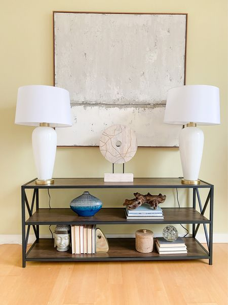 Low console table with table lamps and oversized abstract art.  Console style, console table, white lamps, gray art, modern art, shelf style, home decor, home office  #LTKhome