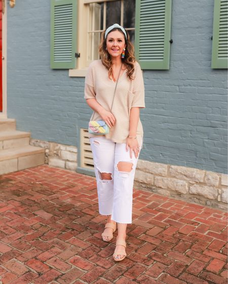 Casual Easter outfit featuring white straight jeans and woven sandals. Perfect casual spring outfit. Size up one size in the jeans. Shirt is TTS for an oversized fit   #LTKshoecrush #LTKunder50 #LTKstyletip