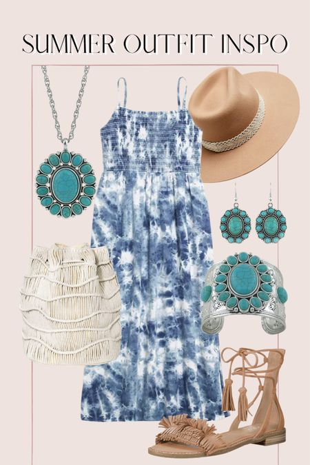 Summer outfit inspo, tie dye dress, macrame bag, boho outfit, turquoise jewelry, old navy, Amazon finds, target finds http://liketk.it/3ihng @liketoknow.it #liketkit #LTKunder50 #LTKunder100