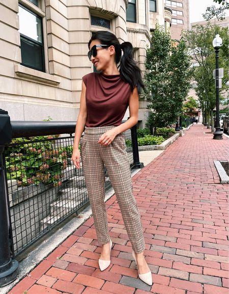 40% off Fall work outfits ~ draped jersey top xxs , pull on plaid houndstooth pants xxs petite. Azra pumps size 5  #LTKsalealert #LTKunder100 #LTKworkwear