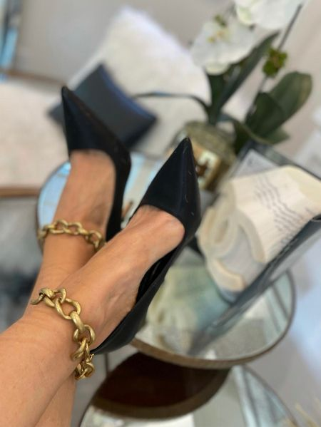 SALE ALERT! These gorgeous gold chain black heels are so chic and perfect for date night and GNO! They're on sale making them an amazing price.   #LTKsalealert #LTKshoecrush #LTKstyletip