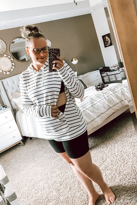 This all forever be my favorite outfit for summer to fall — bikers + sweatshirt! BONUS because this one is nursing friendly & from Motherhood Maternity! . . . . . Postpartum style // bump style // breastfeeding top // nursing top // nursing friendly // postpartum clothing // nursing sweatshirt // fall outfit // fall outfits   #LTKbaby #LTKcurves #LTKbump