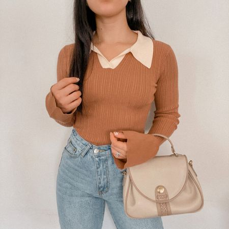 Get 15% off SHEIN with my discount code: Q3YGJESS  fall outfits, fall style, fall outfit inspo, fall outfit ideas, sweater, collar long sleeve top, straight leg denim jeans, beige satchel bag purse   #LTKSeasonal #LTKunder50 #LTKsalealert