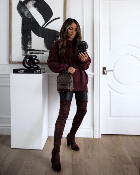 Fall forever 21 outfit ideas  Free People similar sweater on sale now Spanx similar faux leather leggings on sale now Chocolate brown over the knee boots on sale now Take 17% off any purch with code LTK17 Take 25% off $75+ with code LTK25   #LTKsalealert #LTKunder50 #LTKunder100