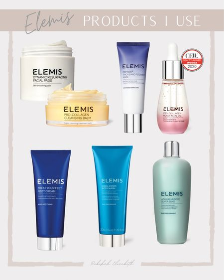 Elemis products I use | pro collagen cleansing balm • resurfacing facial pads • collagen rose facial oil • face mask • muscle ache soak • foot cream • body wash | #rebekahelizstyle   #LTKbeauty #LTKunder100 #LTKcurves