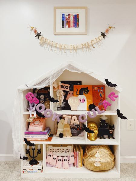 Halloween decor, pink Halloween, girls room decor, Halloween books, dollhouse bookcase  Follow my shop on the @shop.LTK app to shop this post and get my exclusive app-only content!  #liketkit #LTKkids #LTKhome #LTKfamily