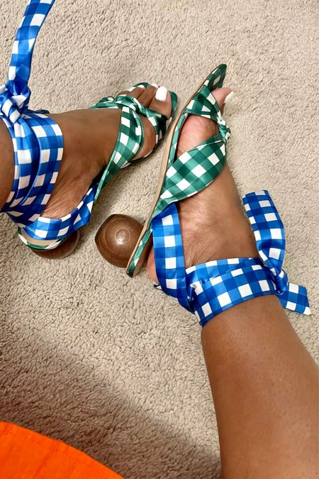 Trust me you want these gingham print wrap sandals currently on sale! #anntaylor fit is true to size  #LTKunder100 #LTKsalealert