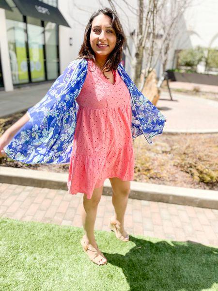 Sundress and cardigans. 💖 : #sundress #pinkdress #nudewedges #wedges  #bluecardigan #floralcardigan #kimonocardigan  #LTKunder50 #LTKshoecrush #LTKSeasonal