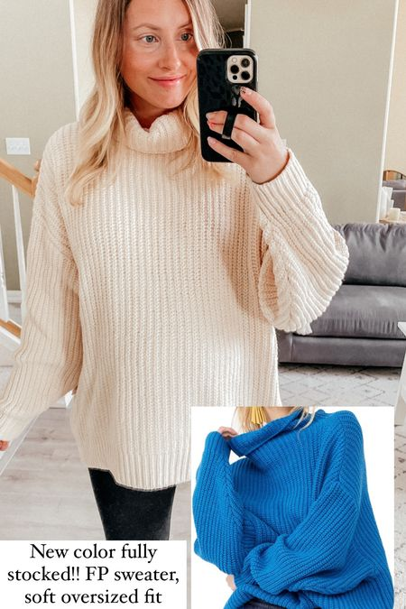 Nordstrom anniversary sale try on  Free people sweater - wearing a S, oversized fit also fits my bump right now, so cozy! Will be wearing this with the leggings and tall boots for fall  Spanx maternity leggings  Spanx faux leather leggings fit snug - size up one size!! Leggings you'll live in all season long, easily dress them up or down  Fall outfit   #LTKunder100 #LTKsalealert