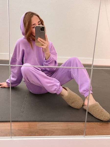 Pretty pastel colored lounge sets paired with clogs for Spring and Summer.   Amazon fashion | Sweatsuit | Swearpants | Lavender | Pastels | Casual outfits | Matching Sets | Pajamas | Tracksuits | Clog shoes | Slippers  #LTKunder50 #LTKhome #LTKstyletip