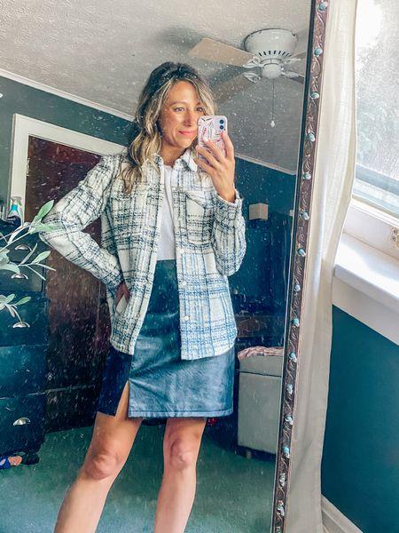 Nordstrom Anniversary Sale // leather skirt // shacket // plaid // outfit inspo #LTKSeasonal   #LTKstyletip #LTKsalealert