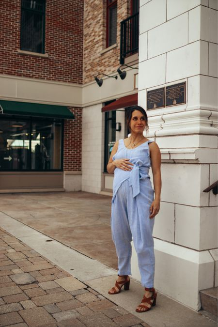 This maternity jumpsuit is perfect to wear on 4th of July. Comfortable and breezy so you don't overheat.   Maternity style. #contest  #LTKbump #LTKfamily #LTKSeasonal