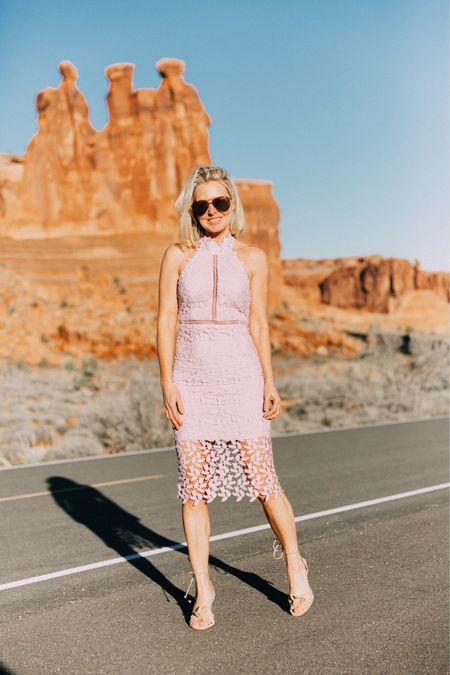 Beautiful, fun, feminine, and flirty!!!EVERYTHING you want in a wedding guest dress or a summer dress. I absolutely LOVE this lace halter neck one... 🥰   #LTKwedding #springdress #weddingguestdress #fashionover40  http://liketk.it/3cdVe #liketkit @liketoknow.it