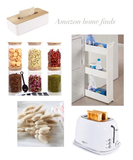 Home finds Toaster Laundry slim storage cart Glass storage containers  Bunny tails  Tissue holder bamboo top  Amazon finds    #LTKunder50 #LTKhome