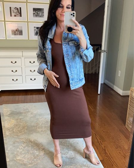 $15 ribbed bodycon dress  *not maternity but is bump friendly! Fit TTS, I sized up one for the bump. http://liketk.it/3hMyd #liketkit @liketoknow.it #LTKbump #bumpfriendly #maternity #ribbed #bodycondress #dress #casual