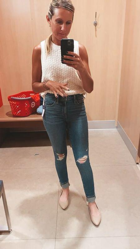 Wearing this sleeveless sweater and the universal three high rise skinny Jeans Great fabric in medium wash with minimum distressed  Cheap Agolde dupe jeans Target style   #LTKsalealert #LTKDay #LTKSeasonal  #LTKDay #LTKunder50 #LTKsalealert
