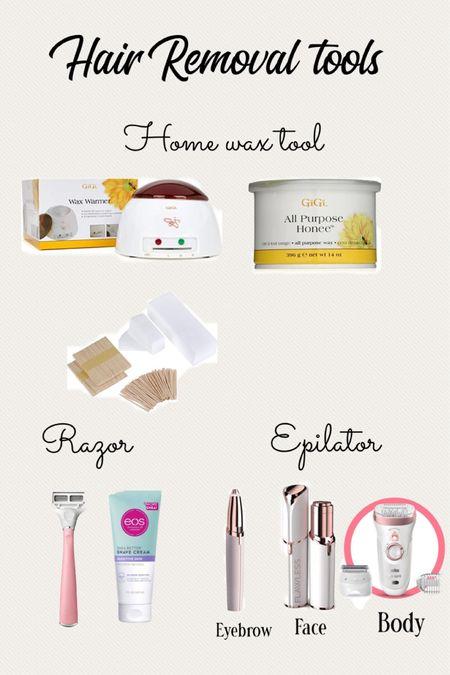 Hair removal tools, home wax kit , razor, face epilator, eyebrow epilator, clean beauty finds, body epilator, hot wax home kit   #LTKunder50 #LTKbeauty #LTKHoliday