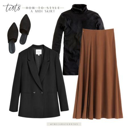 Camel midi skirt, black blazer, black turtleneck, black suede mules. Would also look amazing with black pumps!  #LTKworkwear #LTKshoecrush #LTKstyletip