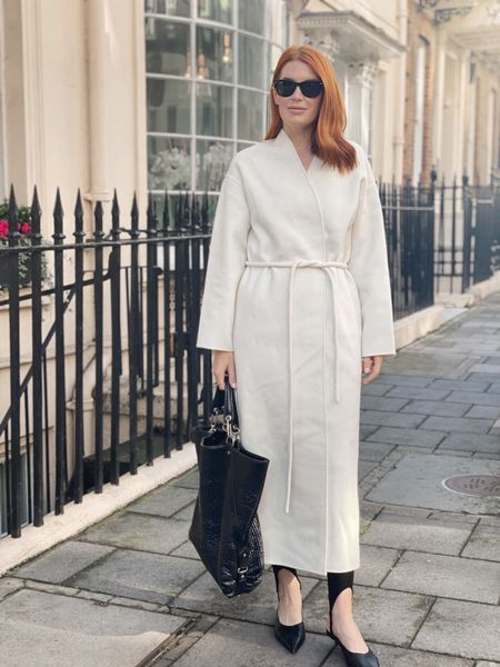 Wore this look to business meetings in London today. I wanted this coat all last year and finally got it this year. It is soft beyond belief and is very elegant. Wearing my stirrup leggings to give the look some interest (not just basic pants) and my mules are great for looking nice but being comfortable.    #LTKunder100 #LTKtravel #LTKworkwear
