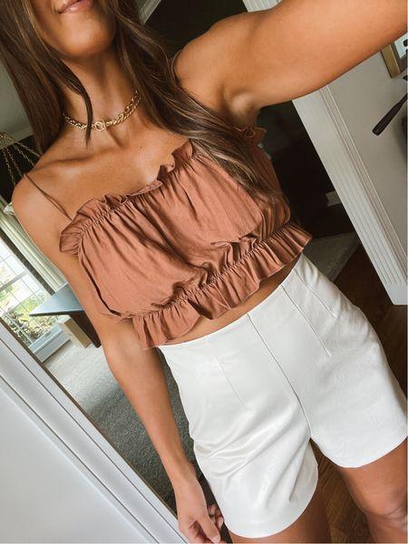 Faux leather shorts and crop top for summer style   #LTKunder50 #LTKsalealert