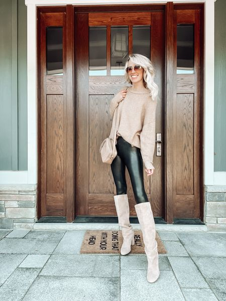 Spanx faux leather leggings outfit for Friday night date night  Gucci soho bag Suede Nordstrom tall boots  Aviator sunglasses   #LTKstyletip #LTKitbag #LTKSeasonal