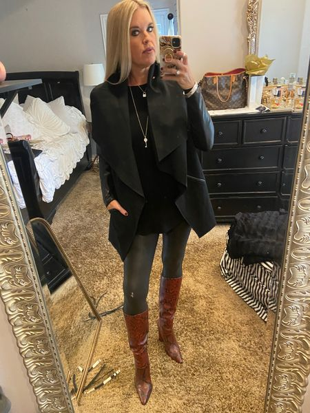 Tonight's date night outfit! @spanx  Spanx jacket And leggings make for n easy date night look, accessorized with great boots and  jewelry! . .   #LTKworkwear #LTKshoecrush #LTKstyletip