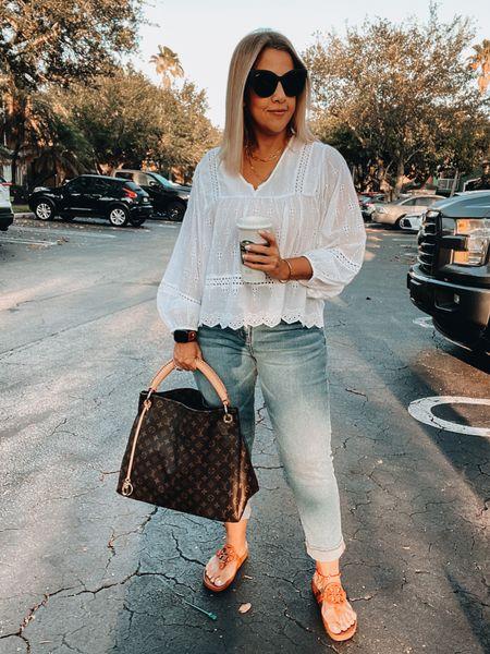 Eyelet top, spring top, mom jeans, ankle jeans, Tory Burch Miller sandals, spring and summer sandals, neutral sandals, quay Australia sunnies, layered gold necklace, LV Artsy bag, LV watchband   #LTKstyletip #LTKunder100 #LTKitbag