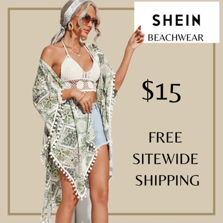 Pom pom detail scarf print swimsuit beach cover up from Shein and free sitewide shipping today   http://liketk.it/3i0Sq #liketkit @liketoknow.it #LTKswim #LTKunder50 #LTKstyletip You can instantly shop my looks by following me on the LIKEtoKNOW.it shopping app