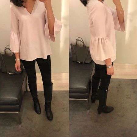 💕 This bell sleeve top is on sale for an extra 50% off @anntaylor making it $24.99 after discounts. I tried on size XS which fit true to size but I'll order my usual size XXS regular for a better fit. I reviewed this top in my 3/15 blog post. It's not see through and well made. 🛍 I linked to my other sale picks that are also an extra 50% off @liketoknow.it http://liketk.it/2v7pW #liketkit #LTKsalealert #LTKunder50 #LTKunder100