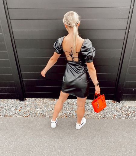 faux leather dress, dressed down with some sneakers!! love this look for dinner with the girls or date night!  #outfit #dress #leatherdress  #LTKbacktoschool