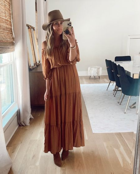$20 maxi is restocked. Perfect for fall! Wearing size small.  Code JEN15 on booties.      #LTKstyletip #LTKworkwear #LTKunder100