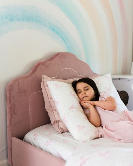 Toddler girl bedroom with pink bed! #rainbows #unicorns #pinkbed #liketkit @liketoknow.it #LTKkids #LTKhome http://liketk.it/2Odw7