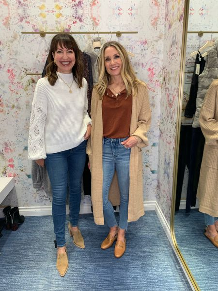 Cozy sweaters and jeans- our fall uniform! @evereveofficial  #lastseenwearing   Evereve, beige sweater, mock neck sweater, beige booties, heeled booties, brown mules, light brown mules, chain mules, camel cardigan, long camel cardigan, rust top, fall sweater, skinny jeans, Hudson jeans, straight leg denim, step hem jeans   #LTKunder100 #LTKworkwear #LTKstyletip