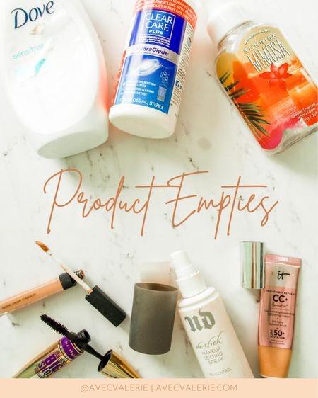 Some of my latest product empties include Dove body wash for sensitive skin, Clear Care Plus Contact Solution, Bath & Body Works gentle foaming hand soap, NARS Radiant Creamy Concealer, Maybelline Colossal Big Shot Mascara, Urban Decay De-Slick Oil Control Makeup Setting Spray, and It Cosmetics! Your Skin But Better CC+ Illumination with SPF 50+.  #LTKspring #LTKunder50 #LTKbeauty