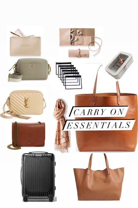 Carry on essentials:  Roller bag, Tote bag, crossbody, makeup case, clear zippered pouches, cord roll, blanket scarf