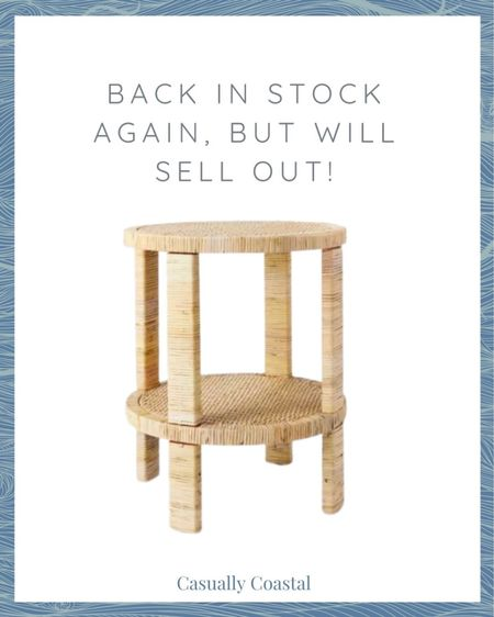 This rattan side table just came back in stock at Target, but I'm guessing it will sell out quickly again! I use it as a side table in my living room and love it! Can't beat the price at $120! @liketoknow.it @liketoknow.it.home #liketkit #LTKfamily #LTKhome #LTKstyletip http://liketk.it/3fgGV  spring decor, spring home decor, spring home decoration living room, spring home, coastal decor, beach house decor, beach decor, beach style, coastal home, coastal home decor, coastal modern, coastal interiors, coastal decorating, coastal house decor, coastal farmhouse decor, neutral home decor, cane, seagrass, rattan, bedroom inspiration, coastal bedroom, coastal living room, neutral living room, living room decor, side tables, wicker tables, living room side tables, bedroom tables side, bedroom side tables, hallway table