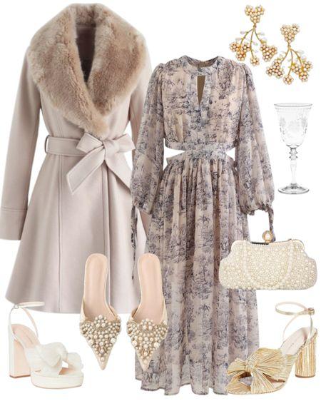 Fall Wedding Guest Dress #fallwedding #winterwedding #earrings #pearlshoes #bowshoes #shein #chicwish   #LTKwedding