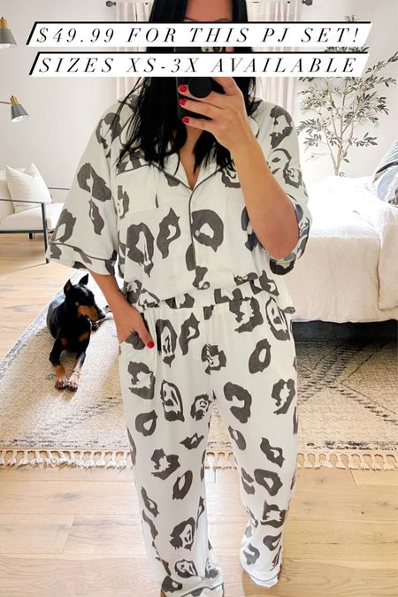 The cutest pajamas! They are so soft and comfortable! Extended sizes also available. Less than $50.  #LTKcurves #LTKunder50 #LTKGiftGuide